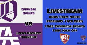 Durham v Leeds Stream 19-20 week12