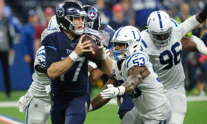 Indianapolis Colts defensive end Ben Banogu (52) sacks Tennessee Titans quarterback Ryan Tannehill (17) during the first half of an NFL football game in Indianapolis, Sunday, Dec. 1, 2019. (AP Photo/AJ Mast)